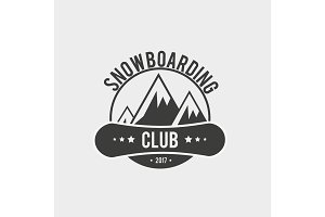 Snowboarding symbol with mountains