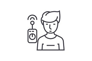 operator with remote controller linear icon, sign, symbol, vector on isolated background