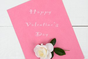 Pink Valentine's Day Pad With Rose