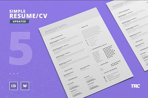 Simple Resume/Cv Template Volume 5