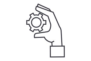 settings gears in hand linear icon, sign, symbol, vector on isolated background