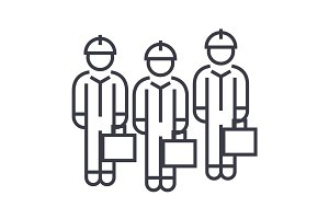 technician team linear icon, sign, symbol, vector on isolated background