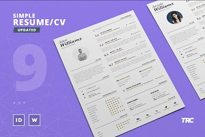 Simple Resume/Cv Template Volume 9