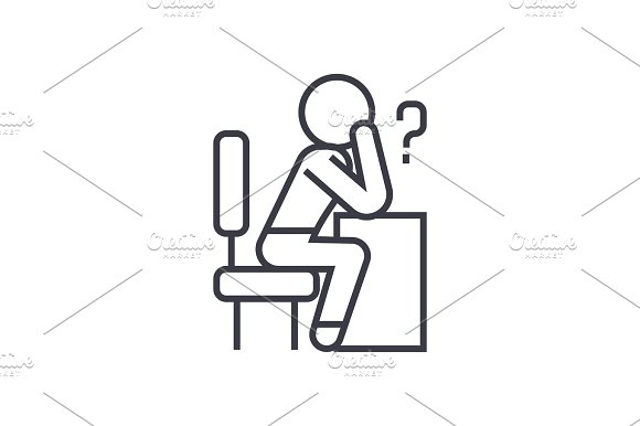 Thinking Person With Question Linear Icon Sign Symbol Vector On