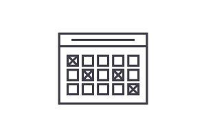 timetable linear icon, sign, symbol, vector on isolated background