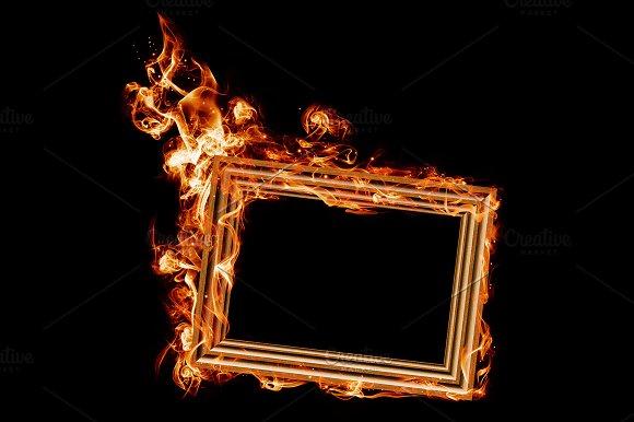 Burning Wooden Frame PSD JPG