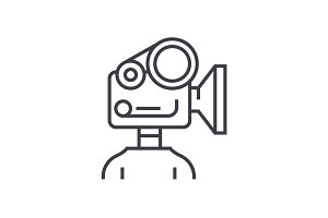 video camera production linear icon, sign, symbol, vector on isolated background