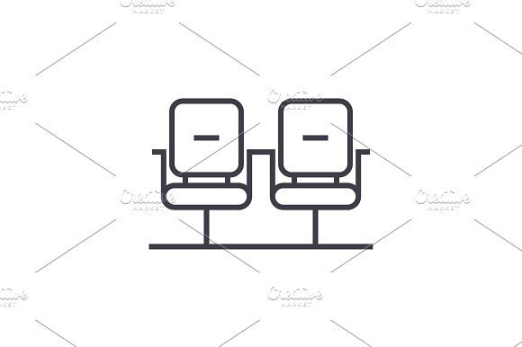 Waiting Room Linear Icon Sign Symbol Vector On Isolated Background