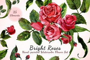 Bright Roses - Watercolor Floral Set