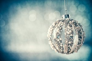 Blue vintage Christmas bauble