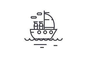 yacht sailing linear icon, sign, symbol, vector on isolated background