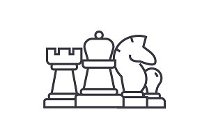 chess, horse, rook, pawn, queen linear icon, sign, symbol, vector on isolated background