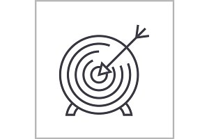 goal target linear icon, sign, symbol, vector on isolated background
