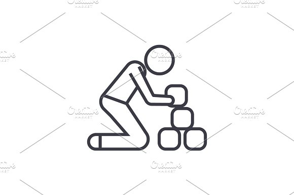 Man Taking Bricks Linear Icon Sign Symbol Vector On Isolated Background