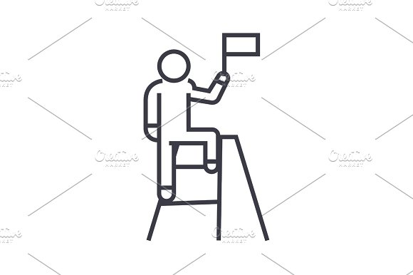 Man With Achievement Flag Linear Icon Sign Symbol Vector On Isolated Background