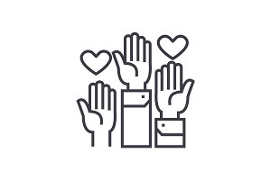 volunteer hands linear icon, sign, symbol, vector on isolated background