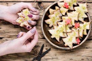 Christmas cookies in hands