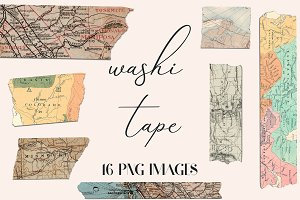 Washi Tape Clipart - Old Maps
