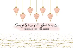 Confetti's and Garlands EPS & PNG