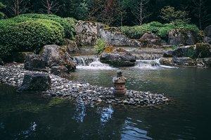 Chinese garden with cascade