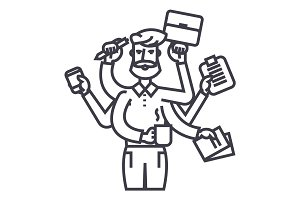 businessman, time management, solution, efficiency illustration, line icon