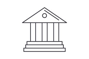 museum,bank vector line icon, sign, illustration on background, editable strokes
