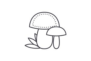 mushroom vector line icon, sign, illustration on background, editable strokes