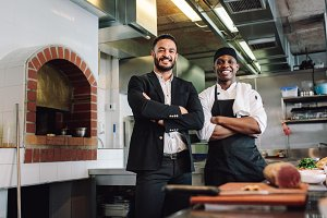 Restaurant manager with chef