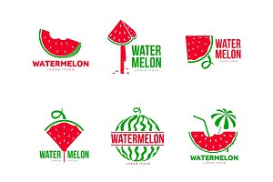 Graphic red and green watermelon logo templates, summer season, fruit company