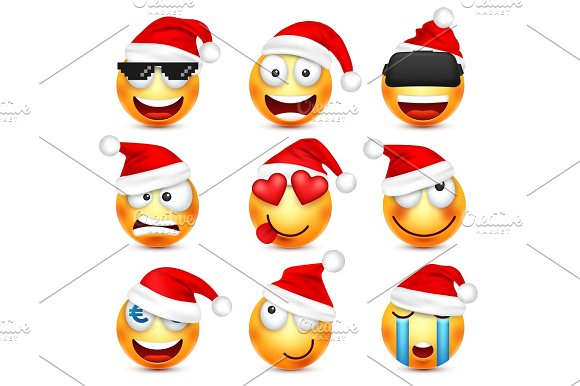 smileyemoticon set yellow face with emotions and christmas hat new year santawinter emoji sadhappyangry facesfunny cartoon charactermood vector