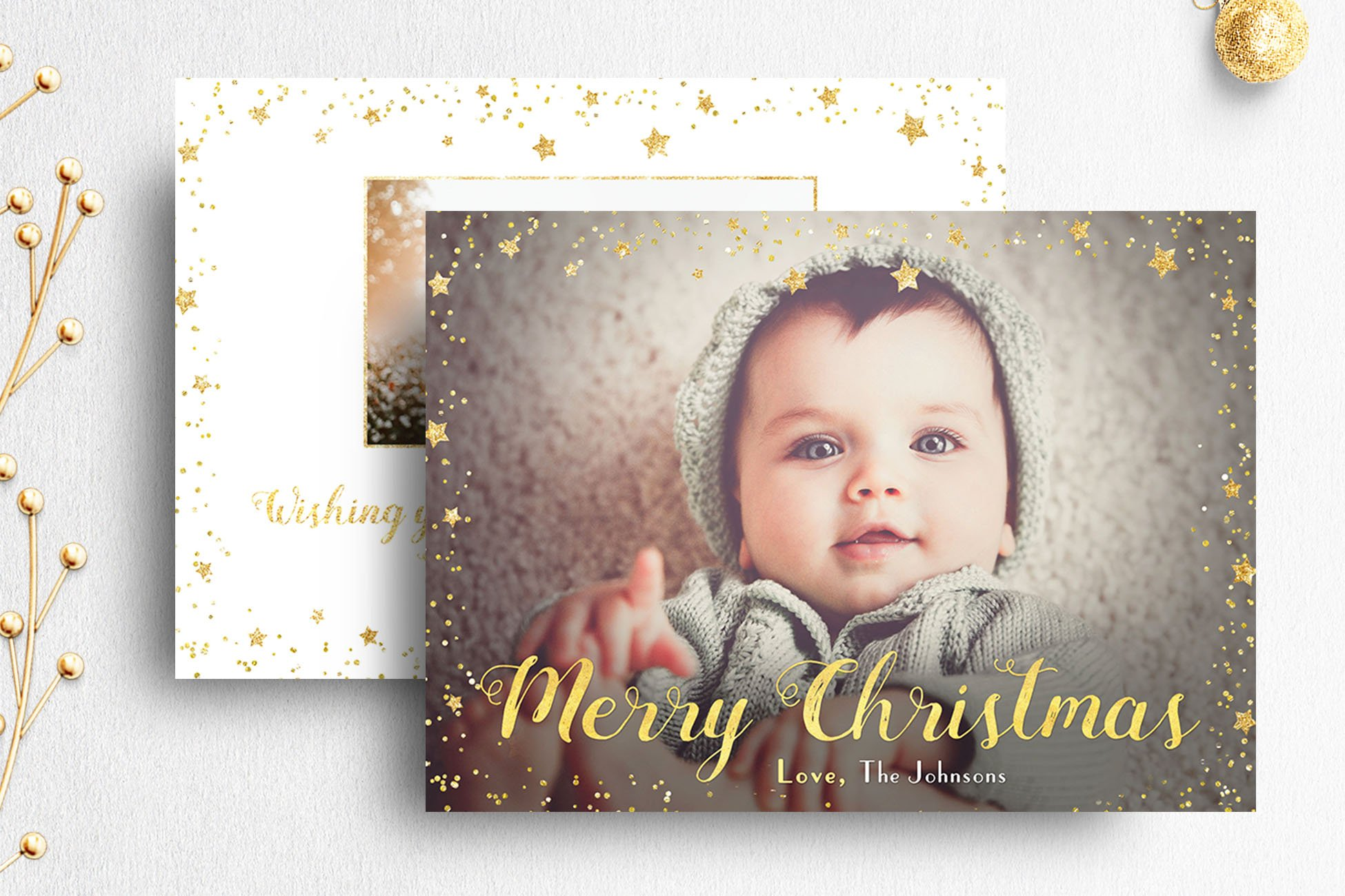 Christmas card template photoshop card templates creative market for Photoshop holiday card templates