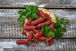 Salami sausages with red pepper