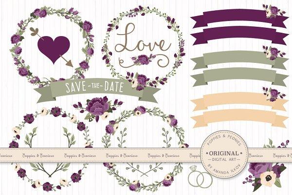 Plum Floral Wedding Vectors