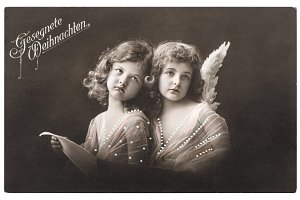 Angel girls Christmas greetings card