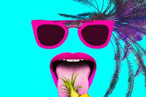 art collage. Tropical party Flat