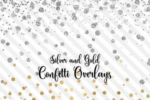 Silver and Gold Confetti Overlays