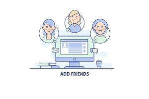 Add friends. Social Network Social Media icon in thin line style