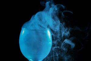 Smoke in a glass. Halloween.