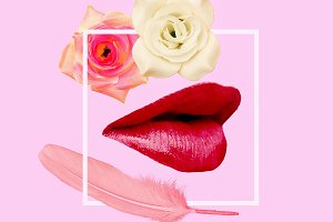 art collage. Red lips and roses.