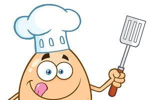 Chef Egg Cartoon Mascot Character