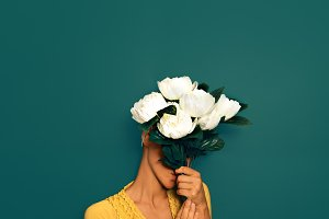 Vintage Lady with a bouquet