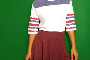 Model in vintage dress. Retro style