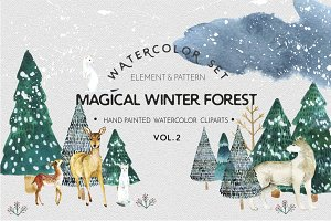 Watercolor set Magical winter forest
