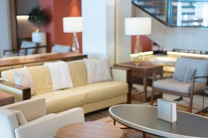 Defocused interior of modern lounge