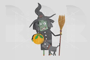 A witch holding a pumpkin
