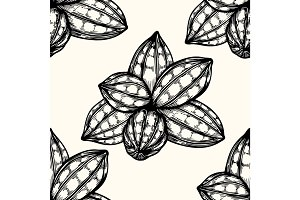 Vector seamless pattern of cocoa