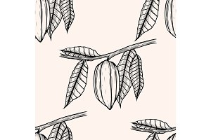 Seamless pattern of cocoa beans.