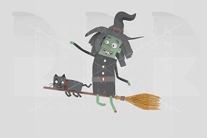 A witch flying on her broomstick