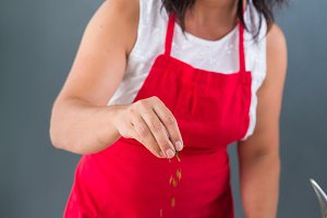 woman chef preparing a recipe