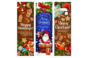 Happy winter Christmas holidays vector banners